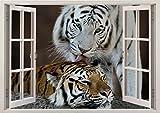 3D-Wandbild Geöffnetes Fenster - großformatig aus hochwertigem Vinyl - wiederverwendbar - Poster Blick aus dem Fenster - Wandtattoo Badezimmer Wandsticker - 3D Fototapete zwei Tiger 85 x 115 cm