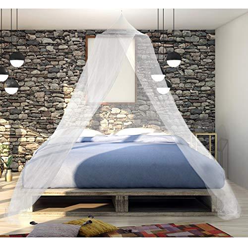 noorsk® Moskitonetz mit Pop-Up Ring | Mückennetz für Einzel- und Doppelbetten | Betthimmel Insektennetz | Bettvorhang - Weiß - 250cm