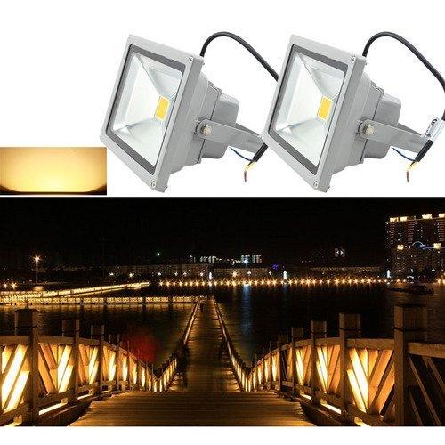 VINGO® 30w 2x LED Scheinwerfer Fluter Gartenspots Warmweiß Flutlicht Licht IP65 Außenleuchte Baustrahler