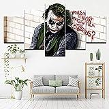 xiaolaji 5 Panel Leinwand Malerei Bat Joker Wandkunst Malerei Modulare Tapeten Poster Drucken Für Wohnzimmer Wohnkultur Weihnachtsgeschenk-Size2-Rahmenlos