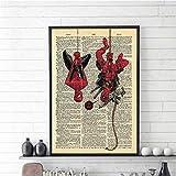 Rjjwai Posters Spiderman & Deadpool Affiche Mur Art Peinture Vintage Nordique Affiche Art Mur Photos Pour La Décoration Intérieure Chambre À Coucher 60x90cm...