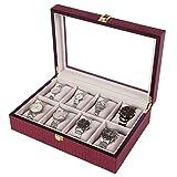 Songmics-Caja-joyero-Estuche-para-relojes-Organizador-para-joyas-con-8-compartimientos-Rojo-JWB08R