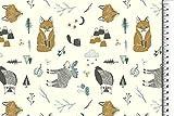 Bio-Stoffe/Organic Baumwoll-Jersey Waldtiere-Tiere, in 2 tollen Farben erhältlich, hochwertiger Kinderstoff mit Fuchs, Hirsch VE: 0,5m (Blau-Braun)
