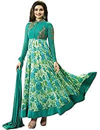 VIHA Women's Faux Georgette Dress Material (Prachi_Print_Green_SS_Free Size_Green)