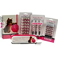 BWG Large 18 Piece Cute Pink Kitten School Set - Pencil Case, Pens, Notebook