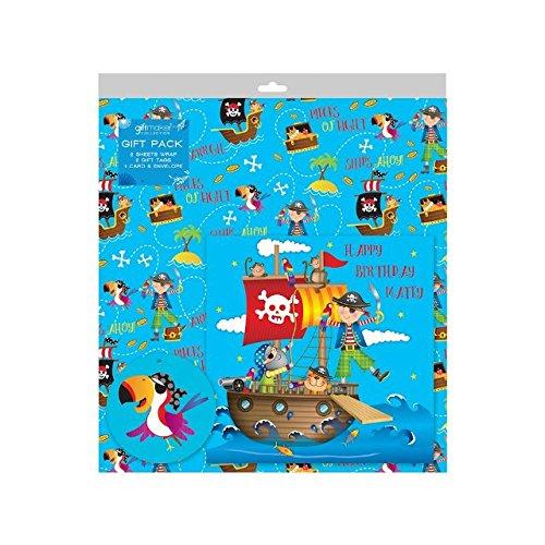 2 Blätter von Blau Piraten Geschenkpapier ,Karte & 2 ()