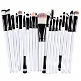 Demarkt® Make up Brush Set 20 Stück Make Up Pinsel Set Schmink Pinselset Etui Schminkpinsel Makeup Brush Set Kosmetik Lidschattenpinsel Gesichtspinsel (Schwarz/Weiß)