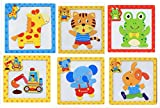 #9: Wooden Magnetic Animal Puzzle Drawing Board Game Educational Toy for Kids, 6 pc Set ( Assorted Designs )