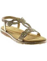Angkorly - Zapatillas Moda Sandalias Slip-on Correa Correa de Tobillo Mujer Strass fantasía Acabado