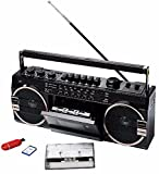 Cassette Portatile Porta USB + SD Radio FM Microfono Antenna Registratore Altoparlante 8W