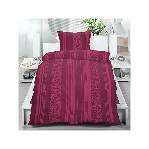 2 oder 4 teilige Microfaser Fleece Bettwäsche aus 100% hochwertigem Polyester 155x220 cm Bordeaux Streifen Blüten, Set-Größe:2-teiliges Set