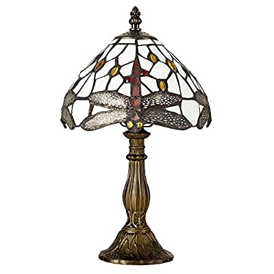 Louis Comfort Tiffany Style Antique Brassed Effect Base, Green And White Stained Glass And Jewelled Dragonfly Design Collection by MiniSun