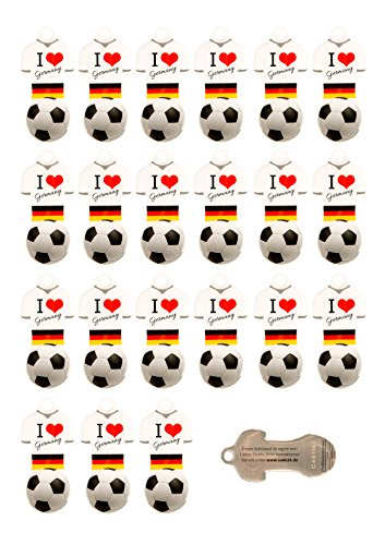 Preisvergleich Produktbild Fußball 22 Stück Schlüsselanhänger D in weiß mit Einkaufswagen-Chip,aus Edelstahl mit Schlüsselschutz