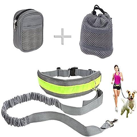 Hundeleine, Joggingleine Hund Hände Frei Führleine mit 2 Pack Taschen und Reflexstreifen für alle große und kleine Hunde, zum Laufen, Joggen, Spazieren, Wandern, Radfahren (Clip Navy Tie Clip)