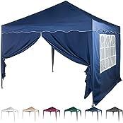 Maxstore 30030328, Faltpavillon 3x3 m mit 2 Seitenteilen, WASSERDICHT, Farben wählbar, inkl. Tragetasche + Zubehör, versiegelte Nähte, DIN ISO zertifiziert, Weiß Champagner Blau Grün Burgund Anthrazit