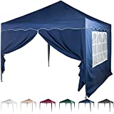 Profi Falt-Pavillon 3x3m, mit bis zu 4 Seitenteilen, WASSERDICHT, Farben wählbar, inkl. Tragetasche + Zubehör, versiegelte Nähte, DIN ISO zertifiziert, Weiß Champagner Blau Grün Burgund Anthrazit
