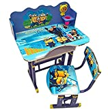 #1: IndusBay Height Adjustable Wooden Study Table and Chair Cartoon Theme Stuydy Desk for Kids