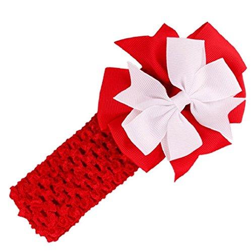 Auxma Baby Mädchen Haarband Einstellbar Kopfband Kaninchen Bogen Turban Knoten Headband Säuglingsmädchen (Rote) (Großhandel Haar Bogen)