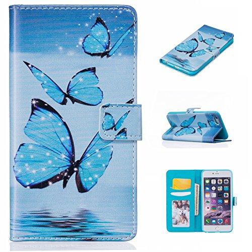PU Pelle Custodia per iPhone 6S Plus (5.5 pollici), DaGeLon Flip Cover per iPhone 6 Plus Portafoglio Cassa con Funzione di Supporto e Slot per Schede Caso Protettivo Case Antiurto - ( Farfalla & Rosa  stile 2 - Farfalla Blu