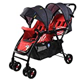 Pushchairs Prams Lightweight Double Stroller, Foldable Reflective Five-point Seat Belt Brake Damping Design