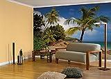 "Komar 8–885–368x 254cm Seychelles Praslin spiaggia Scenic""carta da parati, colore: blu (Confezione da 8)"