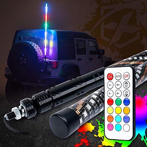 Preisvergleich Produktbild ZHUOYUE 1 stück Smart Bluetooth App Control RGB LED Sicherheit Peitschen Licht Für SUV ATV UTV Off-Road Camp Locator Flagge Licht Kristallklar, 5FT1.5m5500Lm