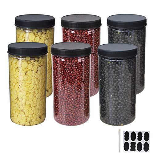 Ybcpack confezione da 6 barattoli grandi in plastica trasparente con coperchi ed etichette, una penna, pet contenitori per alimenti in per esposizione, dispensa, casa e cucina