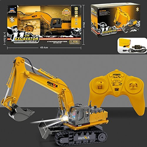 New Large Radio Remote Controlled Excavator Rc Truck Childrens 2.4GHz Jcb Style Construction Digger 11ch Toy Xmas Gift