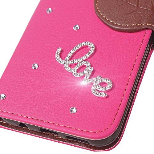 Portafoglio Case per iPhone 6S Plus,Diamante Custodia in Pelle per iPhone 6 Plus,Leeook Luxury Bling DIY Fatto a Mano Glitter 3D PU Pelle Novit¨¤ Retro Foglia Design Fata Ragazza Modello Strass Brilla Amore Rosa