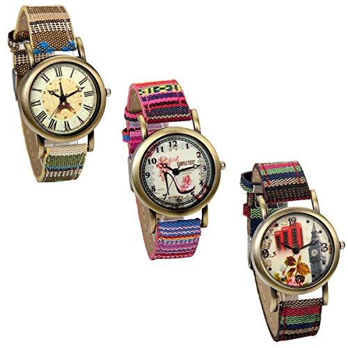 JewelryWe Relojes de Niñas Chicas, Relojes de Pulsera de Cuarzo Correa de Tela Tribal Retro Vintage, Buen Regalo para Niñas de 6-18 Años, 3 piezas en un pack