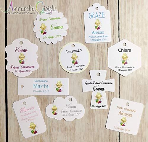 Cartellini Comunione personalizzati, a partire da 30 pezzi, vari colori, per bomboniera, classico, croce, fiore, rettangolo, nuvola, ovale, quadrato, tondo, etichette, Prima Comunione, tag