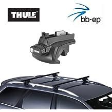 Thule Barre Portatutto in Acciaio 90109585, Sistema completo con serratura per Volkswagen (VW) Golf Plus–Con normale (hochstehender) sul tetto–incl. 1L kroon Oil Scren nwash