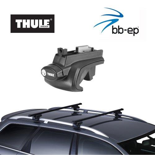 fahrradtraeger tiguan Thule Stahldachträger 90105054 Komplett System inkl. Schloss für VOLKSWAGEN (VW) Tiguan - mit normaler (hochstehender) Dachreling – inkl. 1 l Kroon Oil ScrennWash