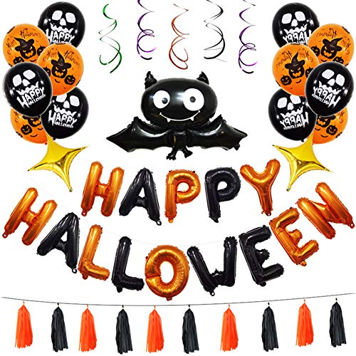 (Le yi Wang You 37-teiliges Happy Halloween Folienballon Fledermaus Spiralband, für Feste, Party, Dekorative Requisiten Multi)