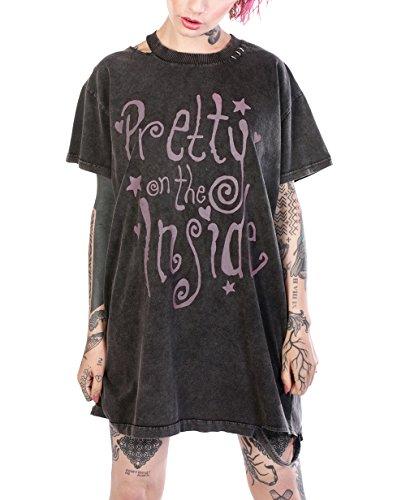 Disturbia Clothing - Robe - Chemise - Uni - Manches Courtes - Femme Gris
