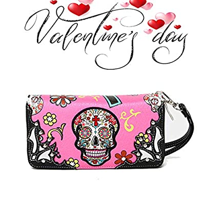 La Dearchuu Sugar Skull Purse for Women Sale, Western Wristlet Clutch Bag, Clutch Wallet with Zip Wristlet