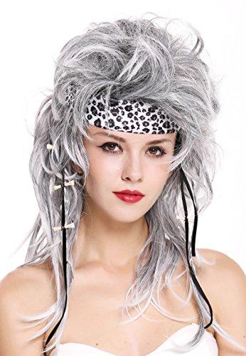 rücke mit Stirnband Damen Herren wild Urmensch Steinzeit 80er Jahre Rock Star Grau Schwarz Mix (Mad Max Halloween Kostüm)