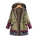 Frauen Vintage Damen Fleece Dick Mantel Hoodie Pullover Strickjacke Winterjacke Dicke Wollmantel Outwear Floral Print Hooded Oversize Winter Parka Wintermantel Warm Winterjacken(Grün,XXXXL)