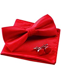 Solid Pre-tied Bow Tie Cufflinks Hanky Set for Men Neck Wear, Red