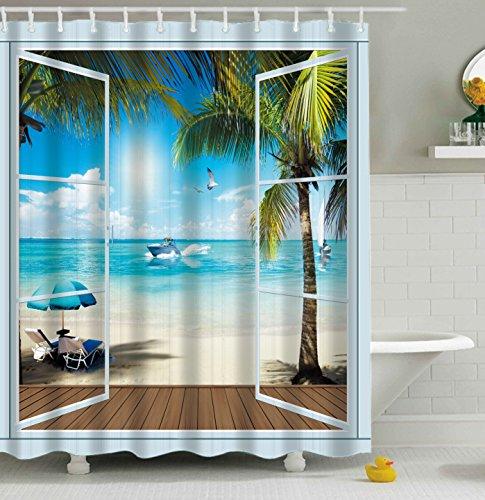 Furnily 3D Duschvorhang Lebhafte Sandstrand Landschaft Polyester wasserdichter Form Badezimmer-Vorhang