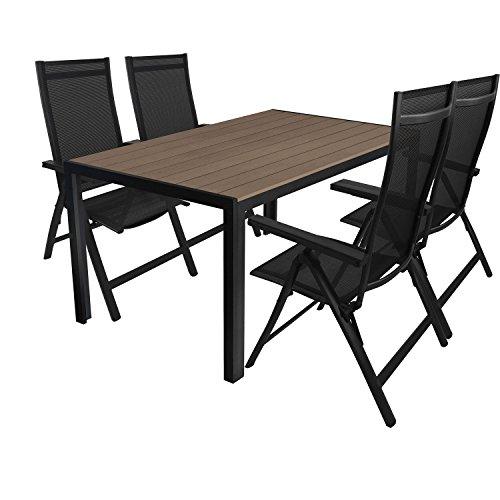 Multistore 2002 5tlg. Gartengarnitur Aluminium Gartentisch 150x90cm mit Polywood Tischplatte Hochlehner mit 4x4 Textilenbespannung 6-Pos. verstellbar