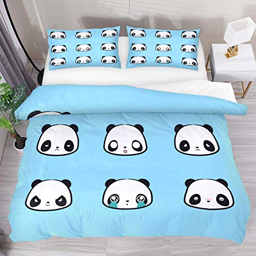 Soefipok Bettwäsche-Bettbezug-Set Panda Emoji Blau Bedrucktes Tröster-Set mit 2 Kissenbezügen 3-teilig, 1 Bettbezug mit 2 Kissenbezügen