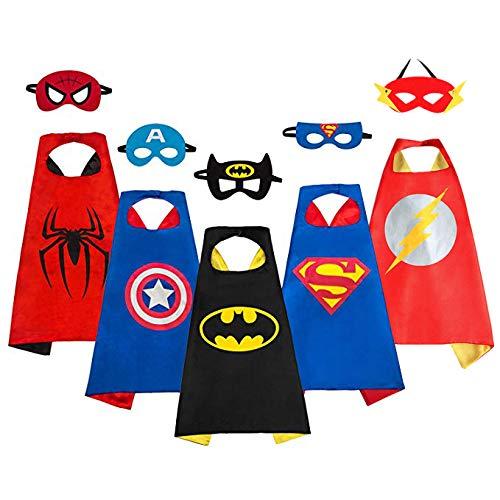 Capa de Superhéroe para Niños - 5 Capa y 5 Máscaras - Ideas Kit de Valor de Cosplay de Diseño de Fiesta de Cumpleaños de Navidad - Juguetes para Niños y Niñas