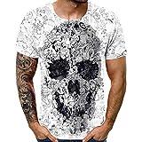 Shirt Homme Skull 3D Pattern imprimé T-Shirts Chemise à Manches Courtes à Manches Courtes T-Shirts Blouse Tops Grande Taille Tops Chemise Sport pour Homme S-5XL