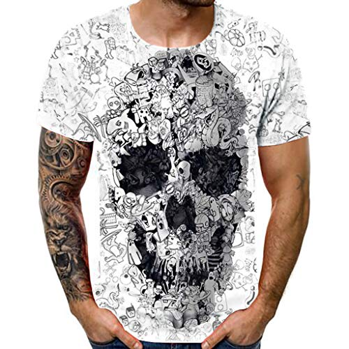 Hahuha Oberteile für Männer,Men es New Summer T-Shirt mit Round Neck Short Sleeve Skull 3-D Printed Top -