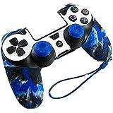 Pandaren® Piel Fundas Protectores para el Mando PS4 (camuflaje azul) x 1 + pulgar agarre thumb grip x 2