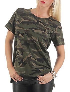 malito básico Camiseta en el Camuflaje Diseño Top Loose CR-1211 Mujer