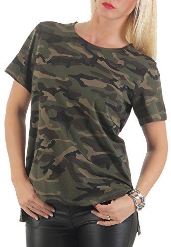 malito Damen T-Shirt im Camouflage Look | Shirt mit Rundhals Ausschnitt | sportliches Oberteil