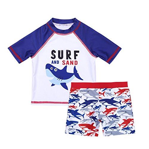 iixpin Baby Jungen Badeanzug UV-Schutz Bademode Sets Hai Shirt mit Badeshors Schwimmanzug Gr. 74-122 Weiß & Blau 74-80