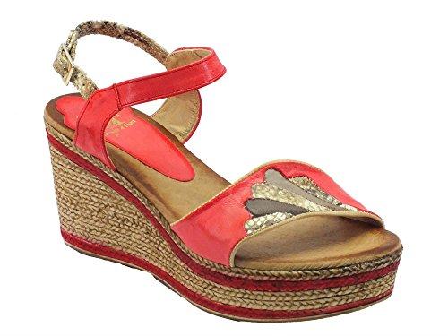 Sandali Mercante di Fiori in pelle rossa con zeppa bicolore effetto corda (Taglia 38)
